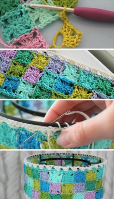 Granny Collage Lampshade – Free Crochet Pattern