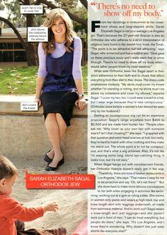 Godly modesty is beautiful  ~ Elizabeth Sagal, Orthodox Jew