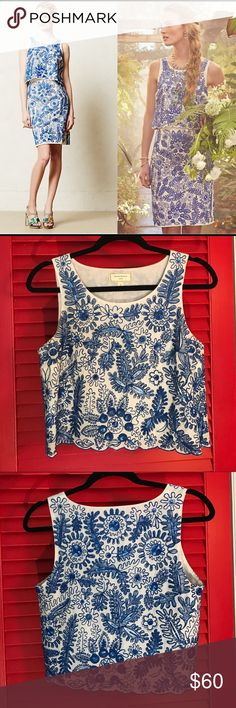 Anthropologie Moulinette Soeurs bleuet top This top is glittery and fabulous and you will never want to take it off! Cropped just enough, with stunning details all over! Scalloped, trimmed edge looks great with jeans, shorts, or the matching bottom! This top can be dressed up or down, worn day or night. Worn once Anthropologie Tops Tank Tops