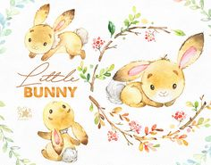 This Cute Little Bunny set is just what you needed for the perfect invitations, craft projects, paper products, party decorations, printable, greetings cards, posters, stationery, scrapbooking, stickers, t-shirts, baby clothes, web designs and much more.  :::::: DETAILS ::::::  This collection includes - 27 Images in separate PNG files, transparent background, different size approx.: 12-3in (3600-900px)  300 dpi, RGB  See all sets with fox and bunny: https://www.etsy.com/shop&#...
