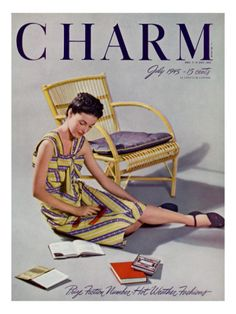 Charm Cover - July 1945 by Farkas - Model sits on the floor wearing a Everfast cotton seersucker dress, Town & Country ration-free gabardine playshoes and Coty's Magnet Red lipstick