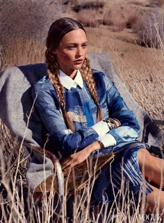Georgia O'Keeffe-inspired editorial | Mikael Jansson for Vogue US, February 2014 | Sasha Pivovarova in 'Portrait of the Artist' styled by Tabitha Simmons. Braids ... Love