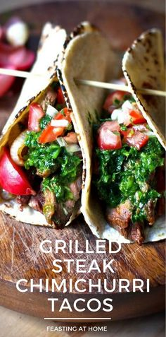 Grilled Steak Tacos with Cilantro Chimichurri Sauce PLUS authentic Pico de Gallo Salsa and Pickled Onions! So Delicious! Perfect for entertaining and outdoor gatherings. #steak #tacos #chimichurri #steaktacos #beeftacos #picodegallo