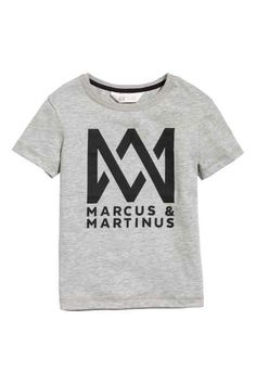 T-shirt with Printed Design - Gray/Marcus & Martinus - Kids H&m Online, Fashion Online, Kids Fashion, T Shirts For Women, Martinis, Cotton, Shopping, Clothes, Mac