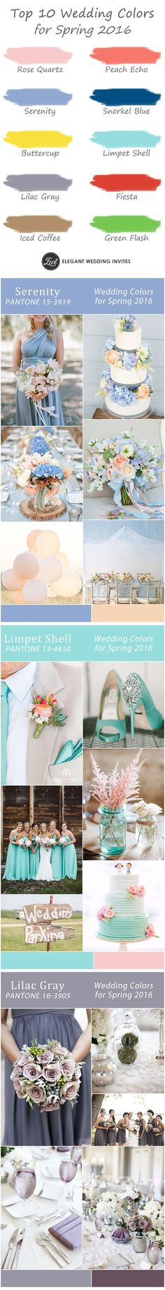 gorgeous 10 wedding color ideas for spring 2016 wedding trends-serenity light blue, peach echo coral, lilac gray, iced coffee and more frugal wedding Ideas #frugal #wedding