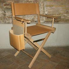 Sedia da regista in cuoio naturale e legno