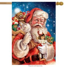 #153 SANTA WITH PRESENTS CHRISTMAS DOUBLE SIDED  HOUSE FLAG 28X40 BANNER