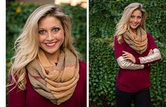 Ellie Boutique  The weather outside might be frightful, but this sweater is oh-so delightful!  We love this burgundy sweater with matte gold sequins for its festive color and beautiful fit. Pair it with our Tan, Red & Black Plaid Scarf and add a touch of European class to your neckline this winter! Shop online now or come see us in Auburn!