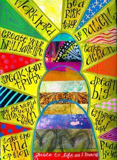 """Guide To Life"" Dylusions journal, acrylic paint, paint markers, Teesha Moore journal elements, gel pens. © kass hall studio 2014 www.kasshall.com Journal Inspiration, Art Journal Inspiration, Sketch Book, Paint Markers, Art, Canvas Art, Altered Art, Mixed Media Art Journaling, Art World"