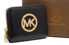 Michael Kors Mirror Metallic Circle Logo Small Purses Black