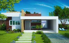 Paisagismo: Uma fachada de casa pequena deve ter um jardim, uma paisagem com muito verde, pois da um charme a mais na construção. As calçadas também compõe um belo visual, exitem algumas de pedra que são as mai procuradas hoje em dia.