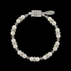 Pearl & Crystal Beaded Bridal Bracelet.  Choose from 3 shades of white pearl!  Assembled in USA.