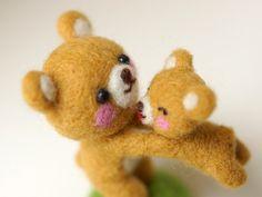 needle felted bear Miniature Animal Needle felting by Softhug