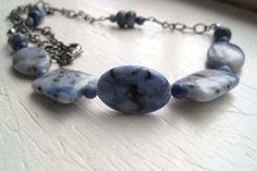 Sodalite Necklace Blue Natural Stone Gunmetal by StoneandFiber