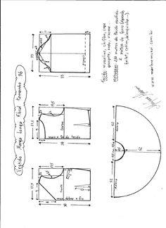 Patrón para confeccionar un vestido manga larga recogida. Tallas desde la 36 hasta la 56.