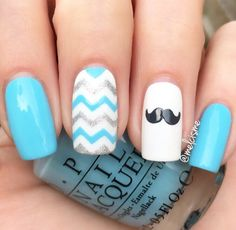 Magnificent Movember mani by @melcisme! Now there's some alliteration! Melissa is using our Chevron Nail Vinyls found at snailvinyls.com