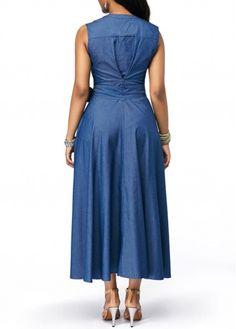 Dresses For Women African Attire, African Fashion Dresses, African Dress, Simple Dresses, Cheap Dresses, Casual Dresses, Denim Maxi Dress, Jeans Dress, Denim Fashion