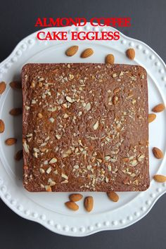 Almond Coffee Cake Eggless is soft, moist and very delicious. This simple and easy recipe makes heavenly delectable cake. Eggless Desserts, Eggless Recipes, Eggless Baking, Healthy Cake Recipes, Delicious Cake Recipes, Yummy Cakes, Baking Recipes, Dessert Recipes, Eggless Coffee Cake Recipe
