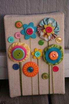 leuke knopen bloemen op canvas, de knopen kunt u vinden op onze website