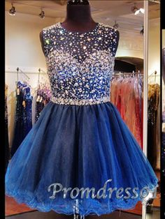 short prom dress, 2015 navy blue tulle round neck sparkly mini prom dress for teens, girl dress, ball gown with sequins #promdress