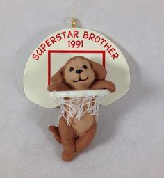 1991 Superstar Brother Ornament Puppy Dog in Basketball Hoop Hallmark Christmas  | eBay