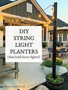 Backyard String Lights, Backyard Lighting, Backyard Projects, Backyard Ideas, Outdoor Ideas, Landscaping Ideas, Diy Projects, Outdoor Projects, Patio Ideas