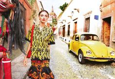 I just love these colors and festive clothes!  I wish I was in  sunny Mexico today, drinking a margarita and eating fresh guacamole... This  shoot, photographed by Nicole Bentley  and produced by fashion editor Meg  Gray for Vogue Australia March 2011, features model Alina Balkova and was  shot on location in San Miguel de Allende and at Hacienda Las Trancas,  Guanajuato, Mexico.   images via Dustjacket Attic