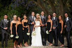 Gray suits & black dresses I think BOLD colorful flowers and shoes! Dark Grey Bridesmaid Dresses, Black Bridesmaids, Bridesmaids And Groomsmen, Wedding Bridesmaids, Bridesmaid Colours, White Tuxedo Wedding, Black Suit Wedding, Black Wedding Dresses, Short Dresses