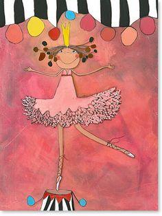 """Serie: Acrylbilder Motiv: Schutzengel """"Prima Ballerina"""" Prima Ballerina die kleine Zirkus Prinzessin. - Serie: Bilder für's Kinderzimmer."""