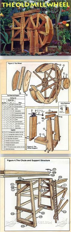 The Old Millwheel - Outdoor Plans and Projects | WoodArchivist.com Woodworking Tips, Carpentry Skills, Water Wheels, Wood Mill, Outdoor Projects, Diy Wood Projects, Wood Furniture, Furniture Plans, Wood Plans