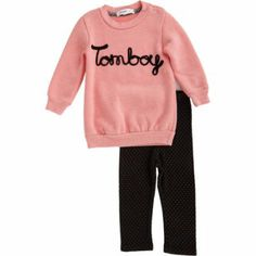 8 Adorable Fashion Picks To Help Blue Ivy Celebrate Turning 2 | We're loving this ironic pink Joah Love Tomboy Sweatshirt and legging set, perfect for the girly girl with a sense of humor!