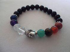 8 Chakra and Onyx Gemstone Buddha Stretch Bracelet,Healing Bracelet,