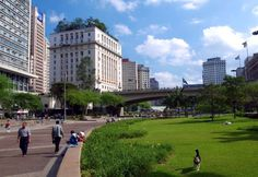 Vale do Anhangabaú, the core of São Paulo's city center with the City Hall at the background.