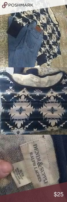 Ralph Lauren cropped l/s top Southwestern print cropped top by Ralph Lauren! Navy Blue and cream. Longsleeved and light weight...perfect for spring to cover up those tees when its still a little chilly Ralph Lauren Tops Sweatshirts & Hoodies