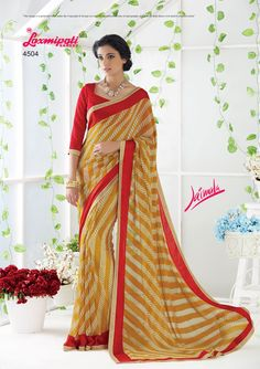Choose this Perfect Beige & Mustard Georgette Sarees and Maroon Pashmina Blouse along with Jacquard Fancy Jari Embroidered Lace Border from Laxmipati at an upcoming special occasion. Laxmipati Sarees, Georgette Sarees, Saris, Dubai Fashion, Printed Sarees, Embroidered Lace, Bridal Collection, Party Wear, Print Design