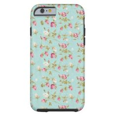 Vintage floral pattern roses blue shabby rose chic tough iPhone 6 case  | Visit the Zazzle Site for More: http://www.zazzle.com/?rf=238228028496470081 [Referral Link]