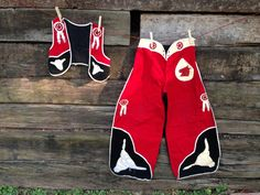 Fantastic Handmade 1940-1950 Child Size Red Black and by Giddies