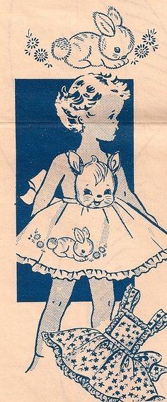 Vintage Illustrations Little Girls Bunny Rabbit Vintage Apron Pattern - Vintage Embroidery, Embroidery Patterns, Hand Embroidery, Sewing Crafts, Sewing Projects, Patron Vintage, Vintage Sewing Patterns, Apron Patterns, Vintage Apron Pattern