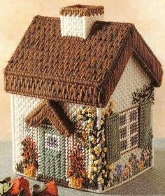 Plastic canvas house Tissue box cover. Love love love this!