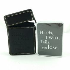 Sacchi Playing Card Deck in Black Leather Case 'Heads, I Win, Tails, You Lose'