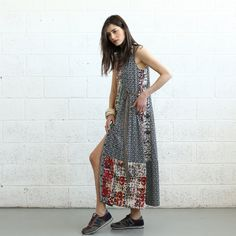 Mix Print Maxi Dress by Naftul on Etsy