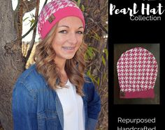 Pearl Hat- Pink Houndstooth- Repurposed, handcrafted, one-of-a-kind hat. Matching hat donated to a child or adult with a chronic illness. #spreadloveandhats
