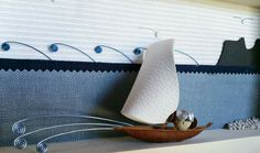 Owl sail on the Sea of Sardinia - 3d picture made with stone and aluminum wire