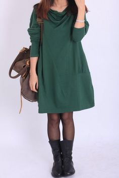 Fall Pile collar loose cotton dress by MaLieb on Etsy, $68.00