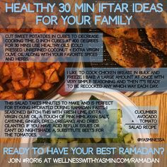 """I get it. Ramadan is busy and we all have so much we yearn to do. I made this same exact iftar two days in a row for the past two days. It freed me up to do other things. It took me 15 mins prep time and 30 mins total time. It's delicious. Easy. Healthy. Sustainable. I am not throwing those words around to """"sound good"""". Ask @kyle_smith51 and he will tell you the same (especially the delicious part).  Pretty sweet deal when I am balancing shifted Ramadan schedules 1:1 client sessions…"""