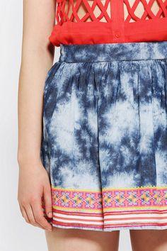 Staring At Stars Embroidered-Hem Denim Skirt