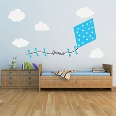 Blue Personalised Kite And Clouds Wall Sticker