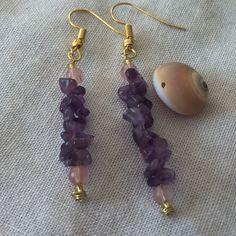 Handmade Boho dangle amethyst chip and 4mm to 5mm cherry quartz round stone earrings by MoonBeamsJewels on Etsy