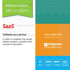 SaaS – Software as a service. A subset of companies that provide software programs accessible online and paid via subscription.  #infobahnconsultancy #infobahn #ibc #seo #searchengineoptimization #digitalmarketing #godigital #digitalmarketingspecialist #onlinemarketing #socialmediaexperts #socialmedia #socialmediamarketing #website #websitecompany #webdesign #itcompany