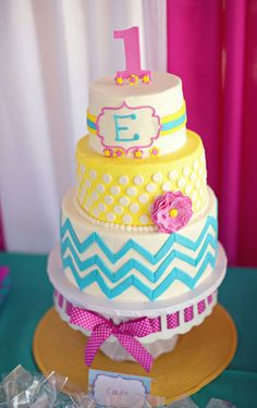 A Bright Chevron Cake: Love and Sugar Kisses created this awesome and supercolorful first birthday cake. Source: Wendy Updegraff Photography